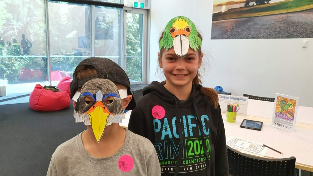 Kids with bird masks